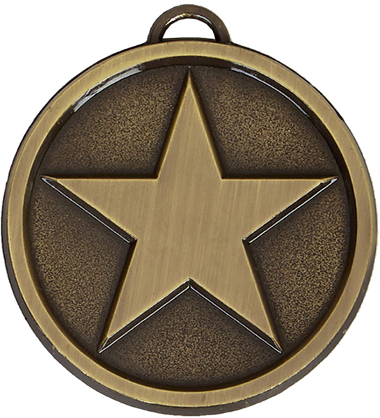 "Chunky High Polished Bronze Star Medal 50mm (2"")"