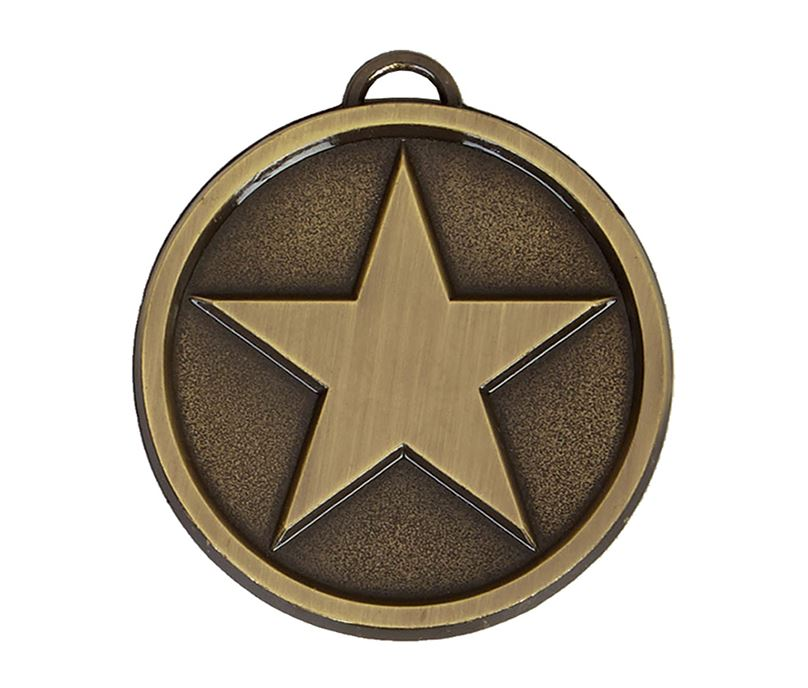 "Chunky High Polished Bronze Star Medal 50mm (2"")"