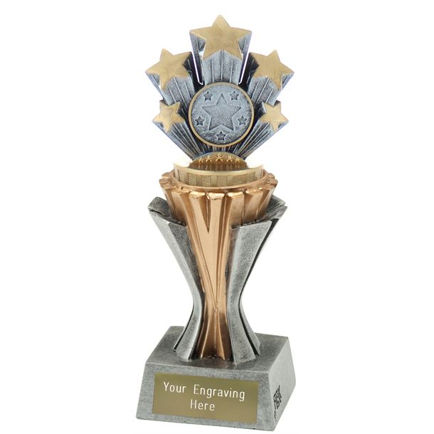 "Flexx 5 Star Trophy Silver and Gold 19cm (7.5"")"