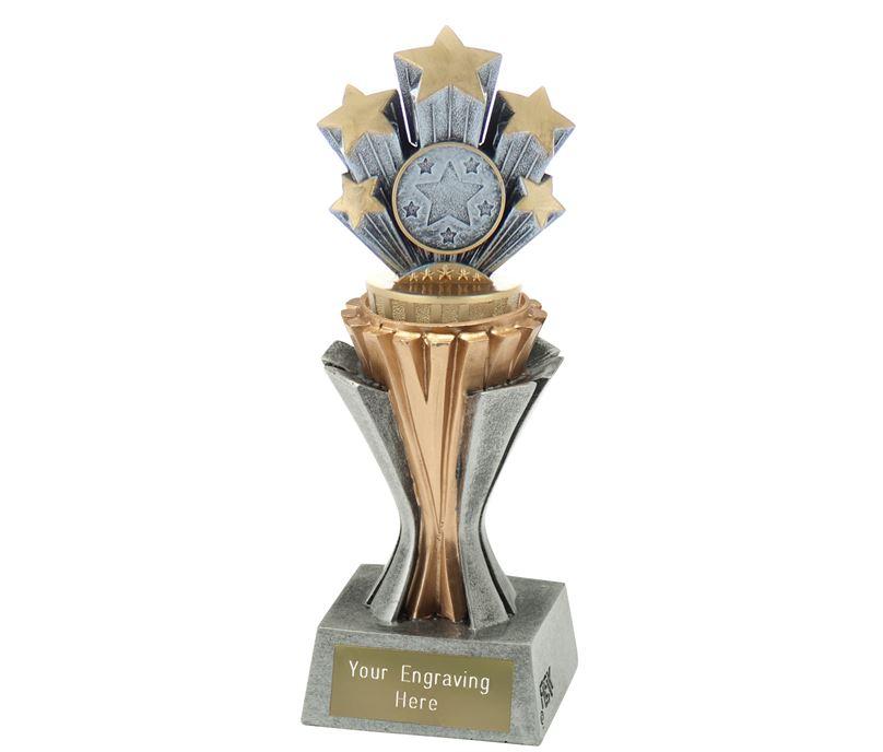 "Flexx 5 Star Trophy Silver and Gold 19cm (7.5"")"