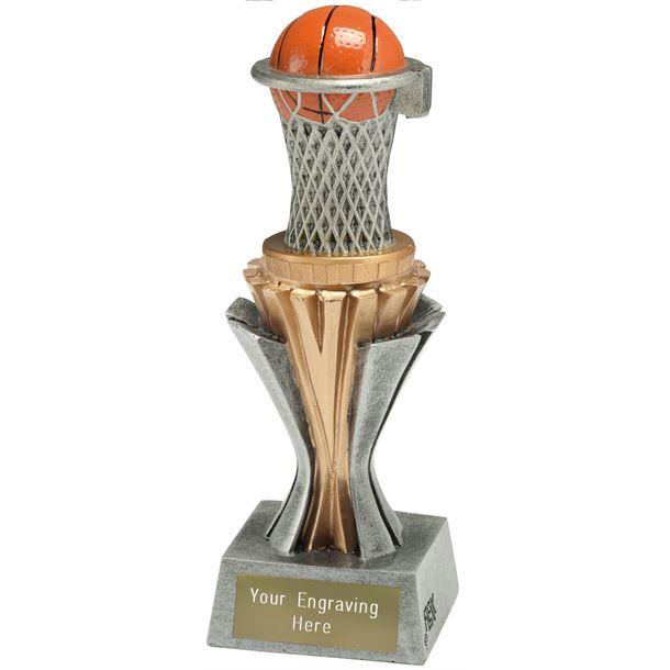 "Flexx Basketball Trophy Silver and Gold 19cm (7.5"")"