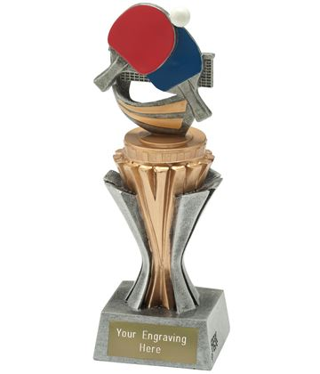 """Flexx Table Tennis Trophy Silver and Gold 19cm (7.5"""")"""