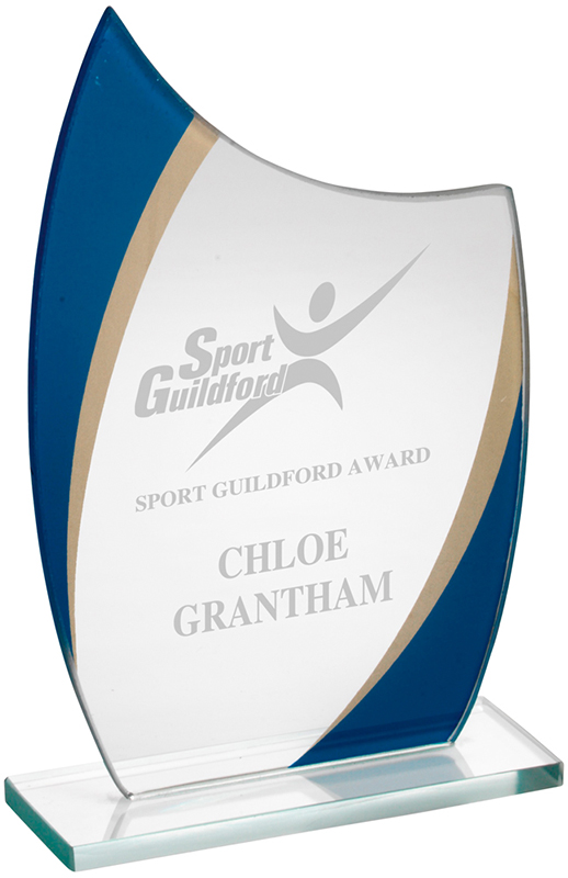 "Clear, Blue & Gold Glass Award 17cm (6.75"")"
