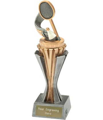 "Flexx Badminton Trophy Silver and Gold 21.5cm (8.5"")"