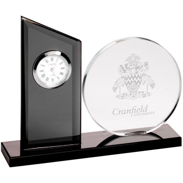 "Clear & Black Glass Clock Award with Round Glass Plaque 14cm (5.5"")"