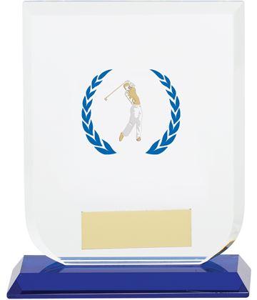 "Male Golfer Gladiator Glass Award 12cm (4.75"")"