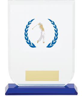 "Male Golfer Gladiator Glass Award 14cm (5.5"")"