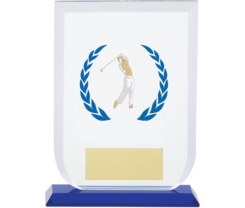 "Male Golfer Gladiator Glass Award 16cm (6.25"")"
