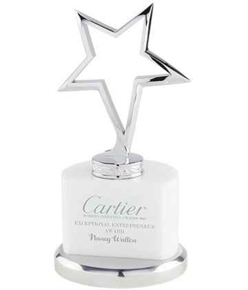 "Silver Star On Crystal White & Silver Base 17.5cm (7"")"