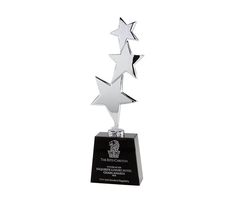 "Crystal & Chrome Plated Los Angeles Multi Star Award Silver & Black 29.5cm (11.75"")"