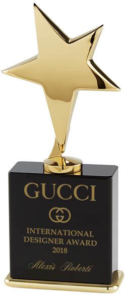 "Gold Star On Black Crystal Base Award 19cm (7.5"")"