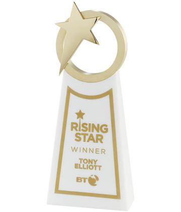 "Rising Star Printed Gold & White Crystal Award 26cm (10.25"")"