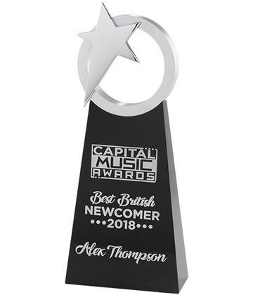 "Rising Star Printed Silver & Black Crystal Award 26cm (10.25"")"