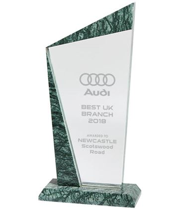 "Crystal & Marble Plaque Award 22cm (8.75"")"