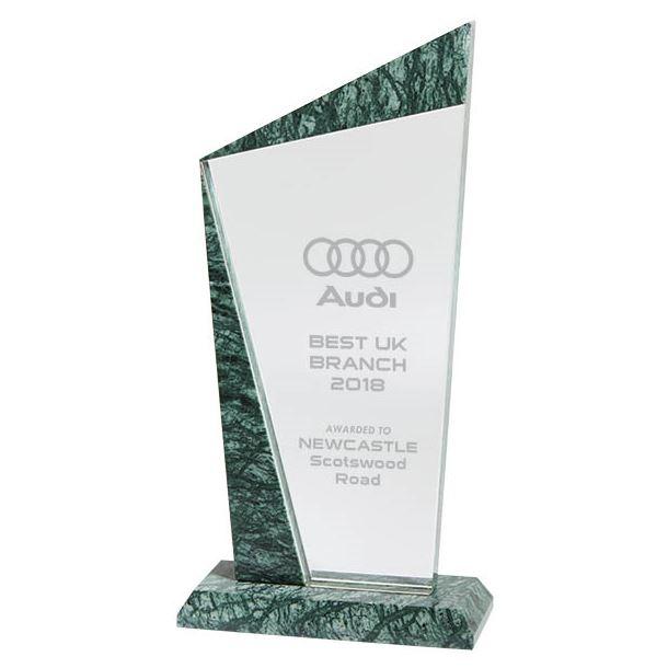 "Crystal & Marble Plaque Award 24cm (9.5"")"