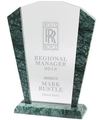 """Arched Crystal & Marble Plaque Award 17.5cm (7"""")"""