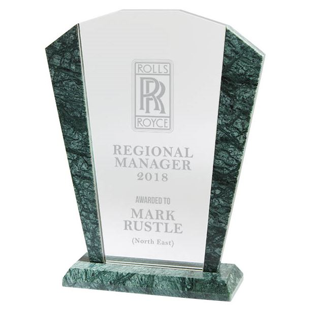 "Arched Crystal & Marble Plaque Award 17.5cm (7"")"