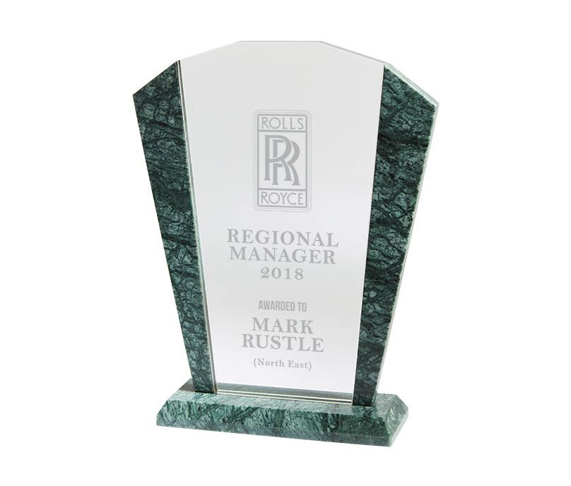 "Arched Crystal & Marble Plaque Award 19.5cm (7.75"")"
