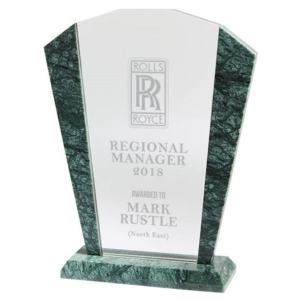 "Arched Crystal & Marble Plaque Award 21.5cm (8.5"")"