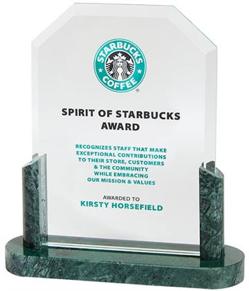 "Honour Crystal & Marble Plaque Award 17.5cm (7"")"