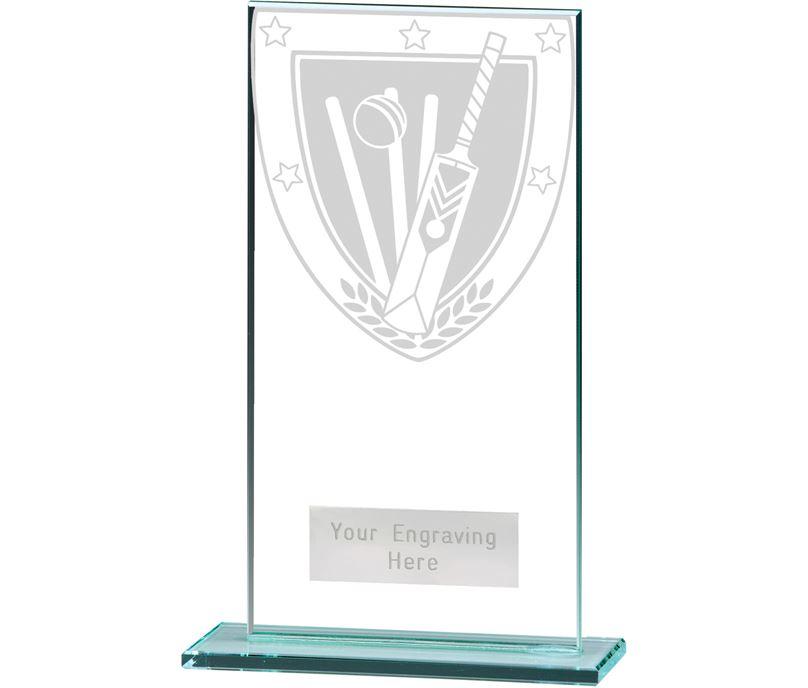 "Millennium Cricket Jade Glass Award 16cm (6.25"")"