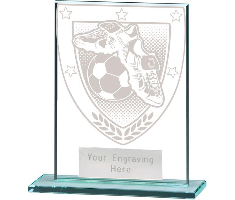 """Millennium Football Boot & Ball Jade Glass Award 11cm (4.75"""")"""