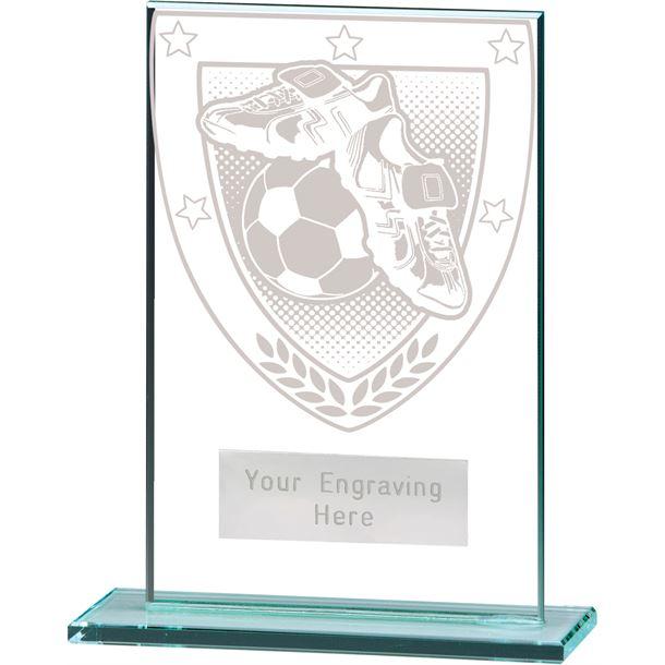 """Millennium Football Boot & Ball Jade Glass Award 12.5cm (5"""")"""