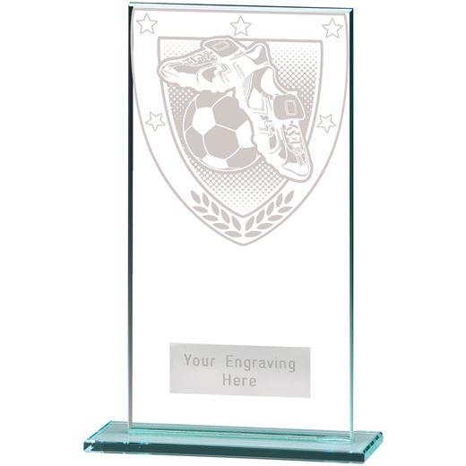 """Millennium Football Boot & Ball Jade Glass Award 16cm (6.25"""")"""