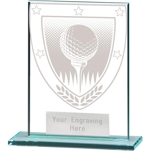"""Millennium Golf Ball Jade Glass Award 11cm (4.75"""")"""