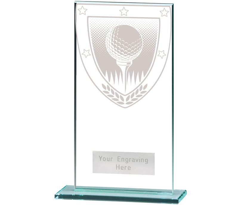 """Millennium Golf Ball Jade Glass Award 16cm (6.25"""")"""