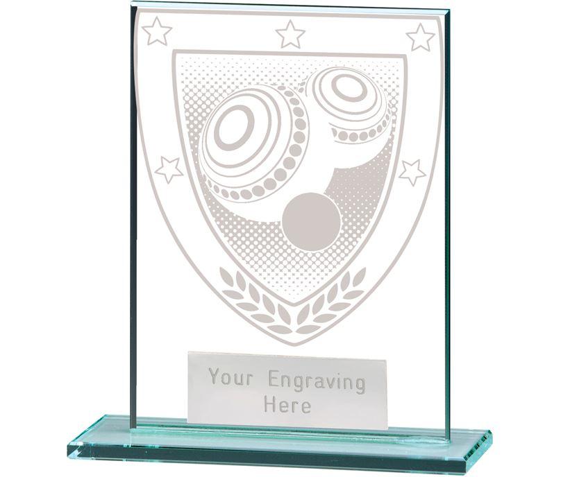 "Millennium Lawn Bowls Jade Glass Award 11cm (4.75"")"