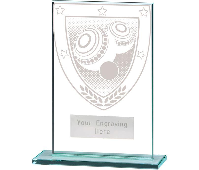 "Millennium Lawn Bowls Jade Glass Award 12.5cm (5"")"