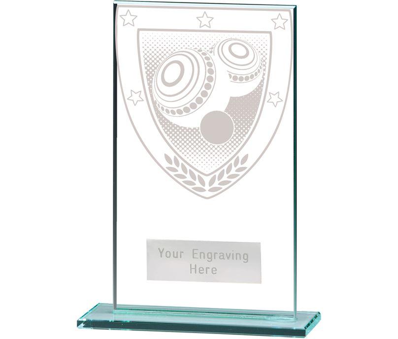 "Millennium Lawn Bowls Jade Glass Award 14cm (5.5"")"