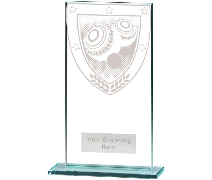 "Millennium Lawn Bowls Jade Glass Award 16cm (6.25"")"