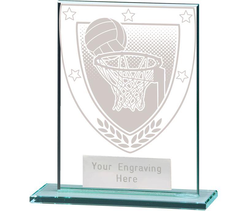 """Millennium Netball Jade Glass Award 11cm (4.75"""")"""