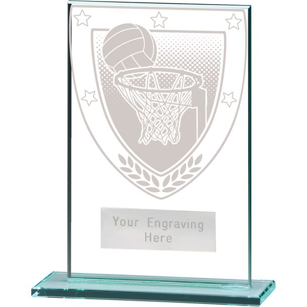 """Millennium Netball Jade Glass Award 12.5cm (5"""")"""