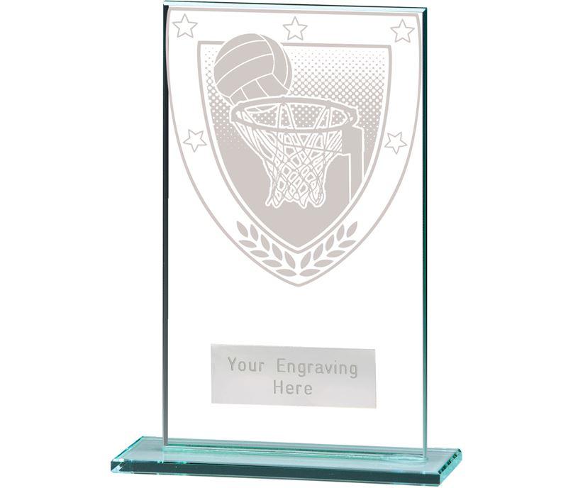 """Millennium Netball Jade Glass Award 14cm (5.5"""")"""