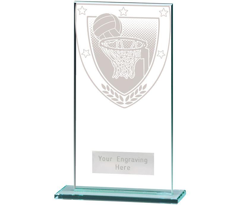 """Millennium Netball Jade Glass Award 16cm (6.25"""")"""
