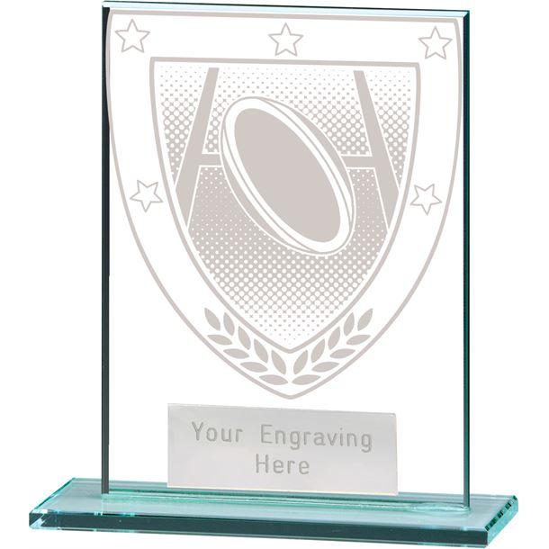 "Millennium Rugby Jade Glass Award 11cm (4.75"")"