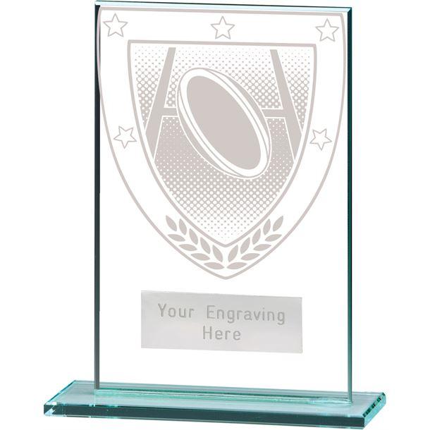 "Millennium Rugby Jade Glass Award 12.5cm (5"")"