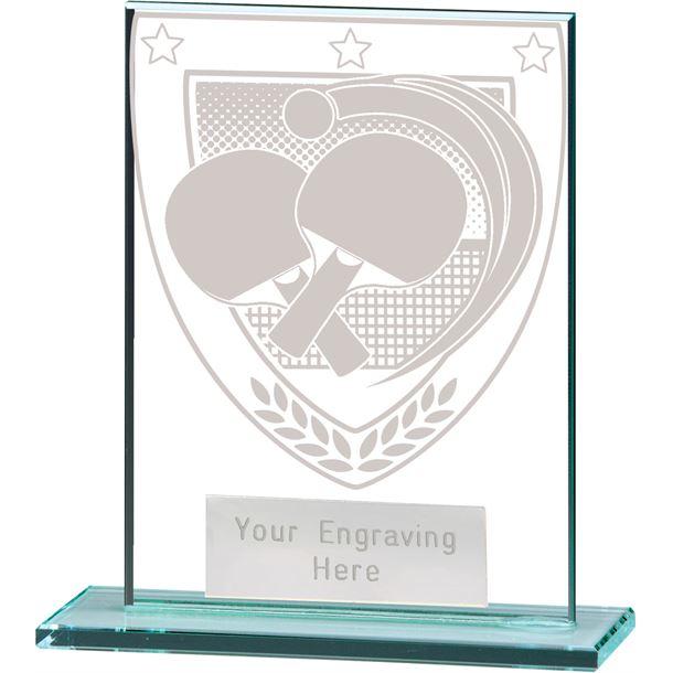 "Millennium Table Tennis Jade Glass Award 11cm (4.75"")"