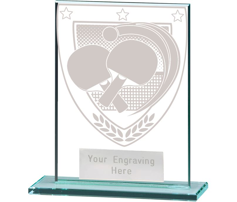 "Millennium Table Tennis Jade Glass Award 11cm (4.75"")"