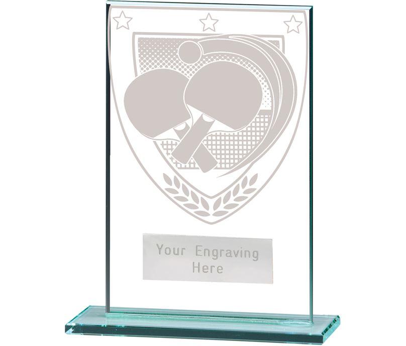 "Millennium Table Tennis Jade Glass Award 12.5cm (5"")"