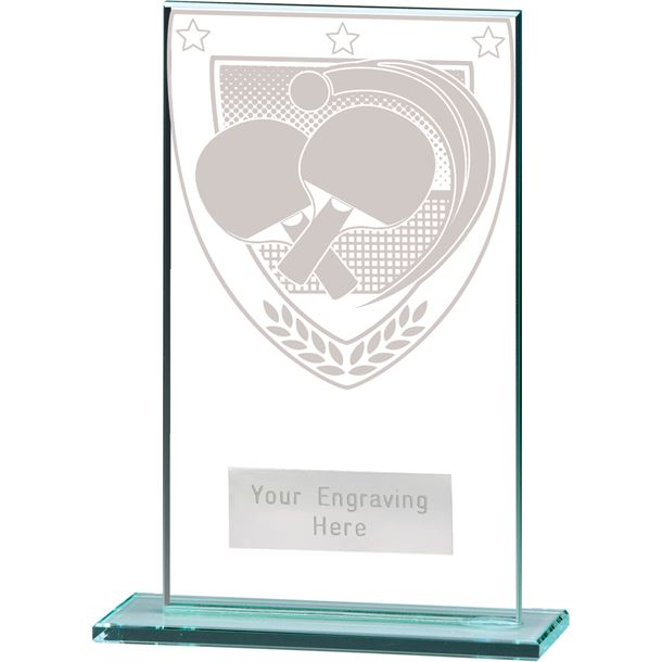 "Millennium Table Tennis Jade Glass Award 14cm (5.5"")"
