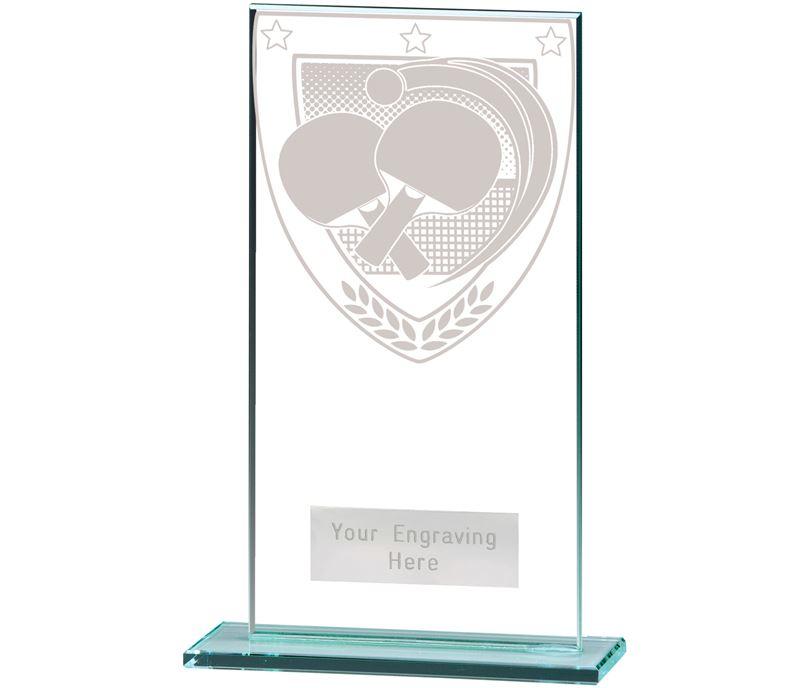 "Millennium Table Tennis Jade Glass Award 16cm (6.25"")"