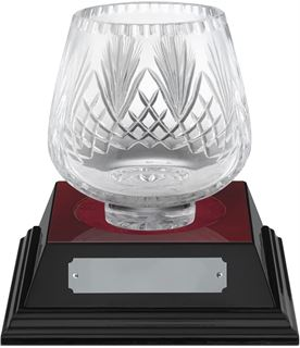 "Moai Cut Crystal Bowl & Rosewood Base 17cm (6.75"")"