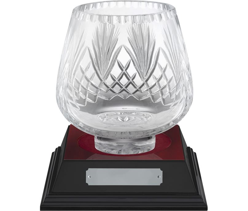 "Moai Cut Crystal Bowl & Rosewood Base 23cm (9"")"