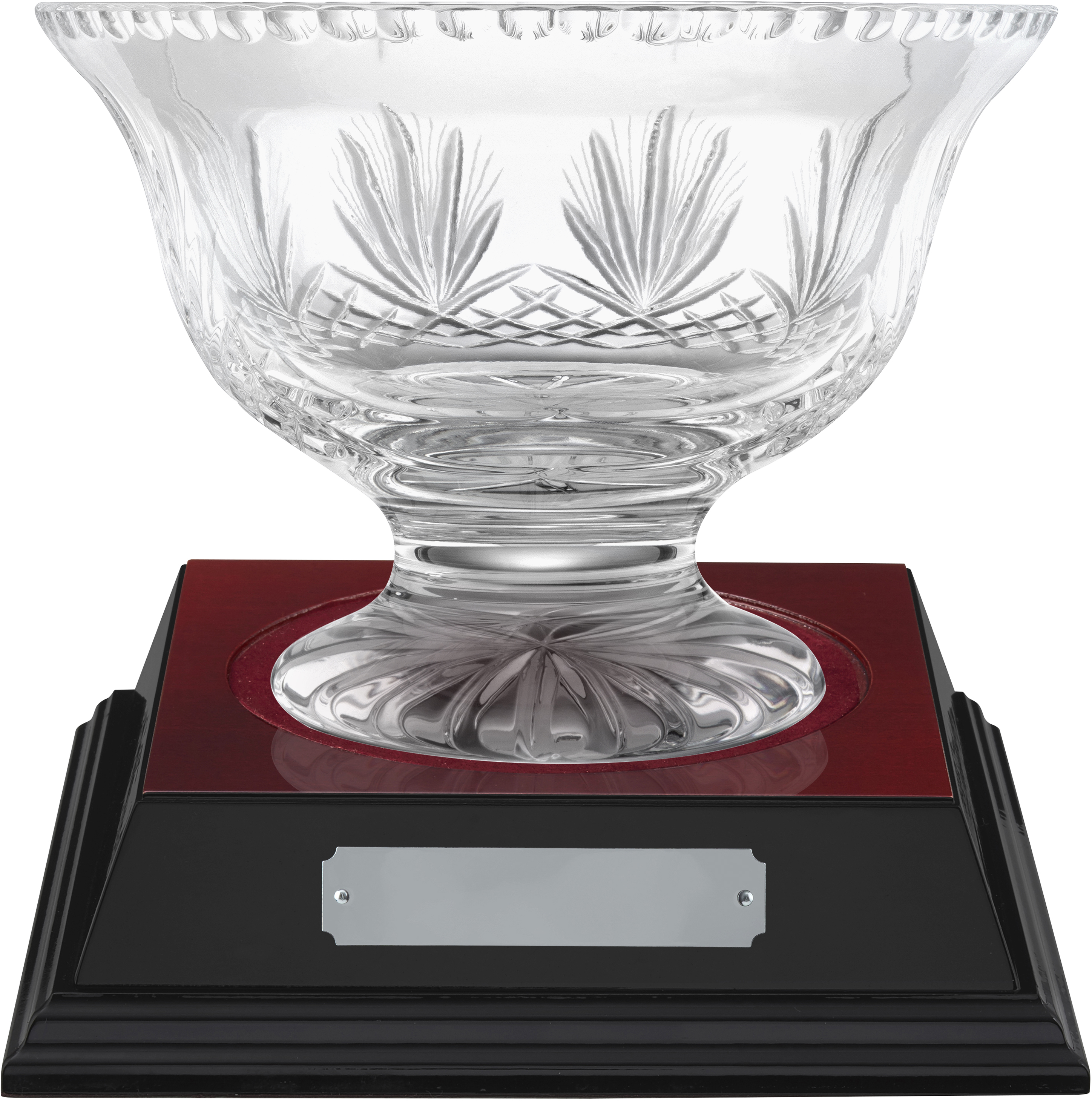 "Rushmore Cut Crystal Bowl & Rosewood Base 18.5cm (7.25"")"
