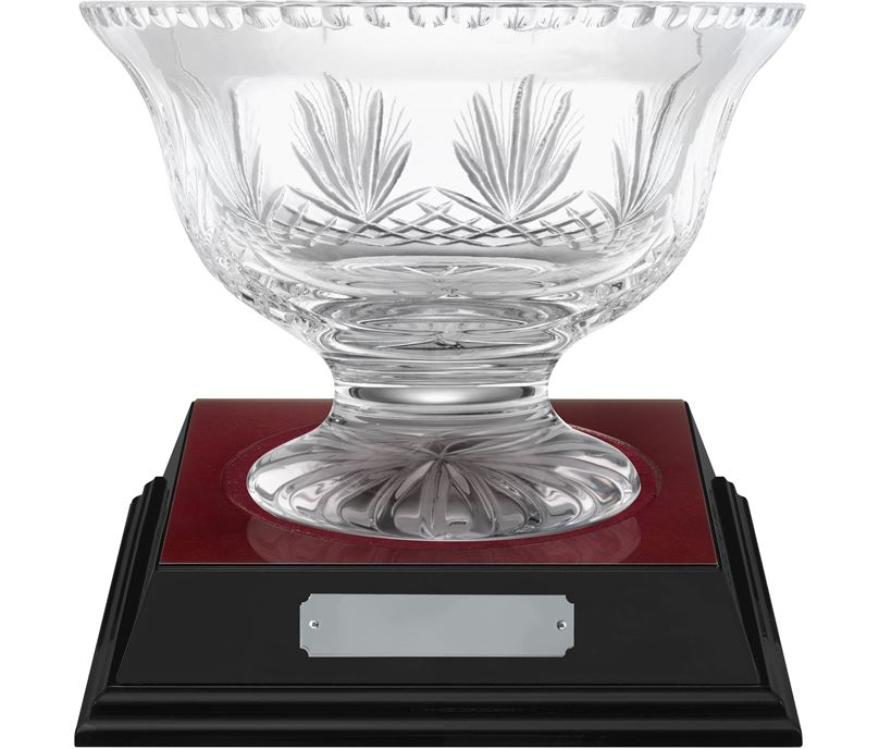 "Rushmore Cut Crystal Bowl & Rosewood Base 21cm (8.25"")"