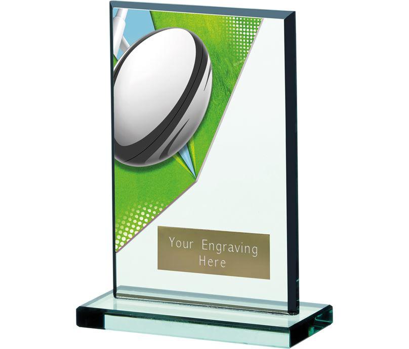 "Rugby Acryclic Glass Award 15cm (6"")"